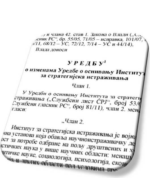Уредба о оснивању Института за стратегијска истраживања